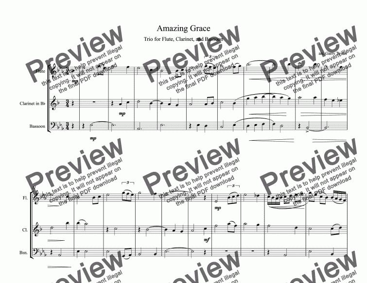 Amazing Grace Trio for Flute, Clarinet & Bassoon - Buy PDF