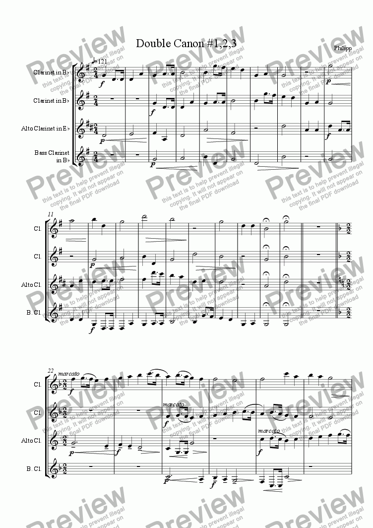 page one of Double Canons for Clarinet Ensemble