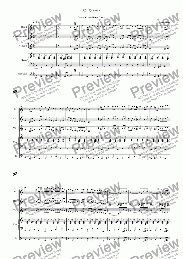 page one of Grand Canon 57 (Sherele - 3Fl/3Cl B/3 Vl, Piano/Bass)