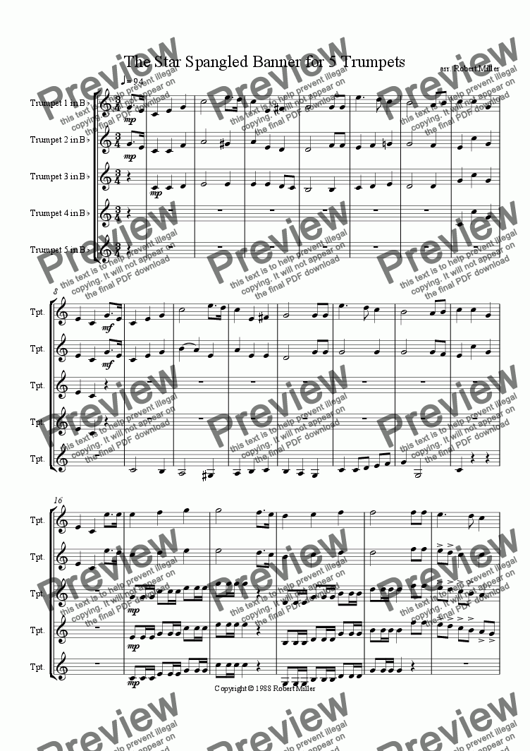 page one of The Star Spangled Banner for 5 Trumpets