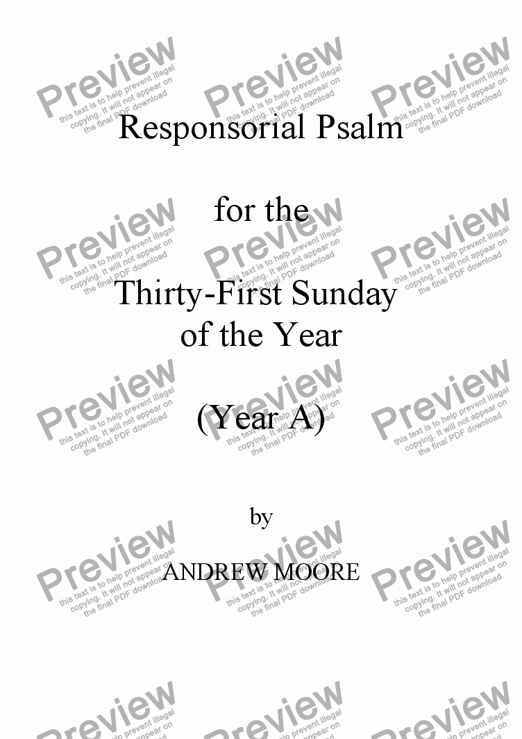 page one of Thirty-First Sunday of the Year (A)