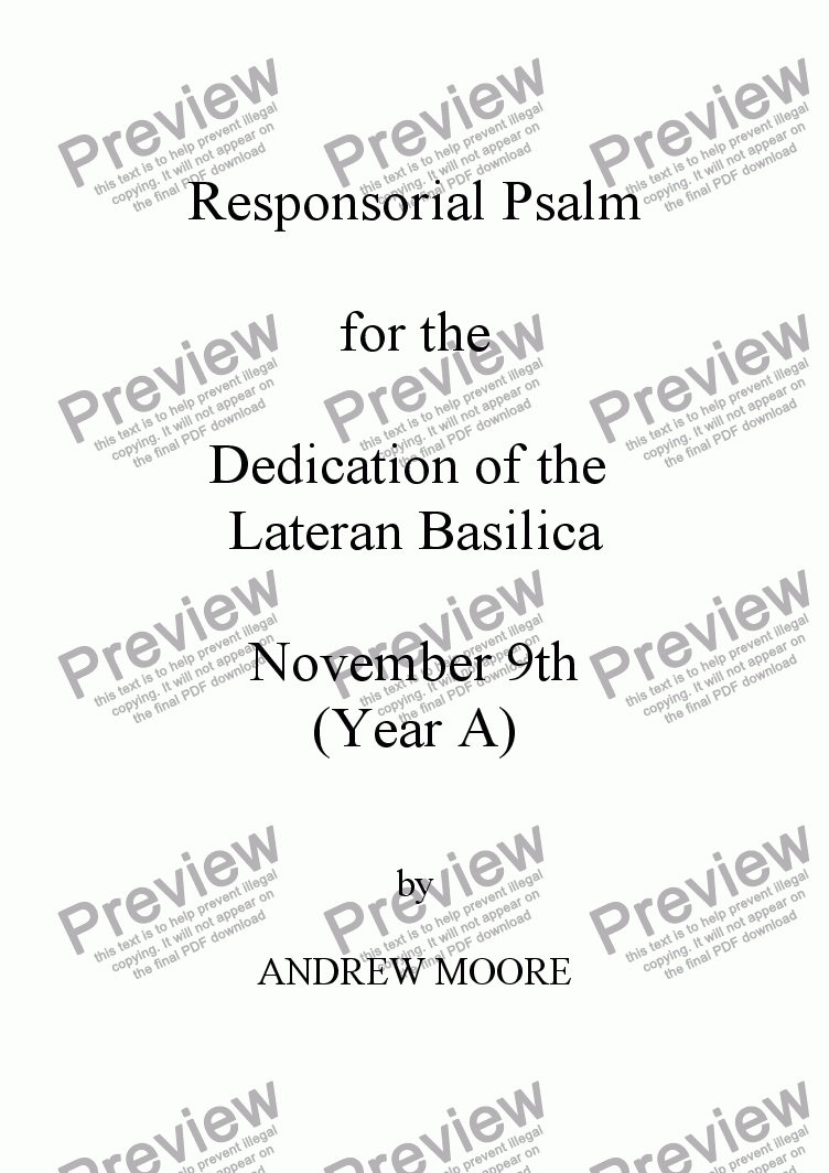 page one of Dedication of the Lateran Basilica - 9th Nov. Year A,B,C