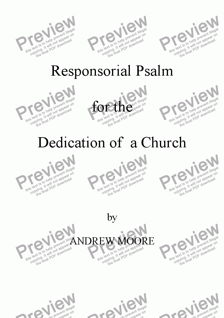 page one of Dedication of a Church Year A