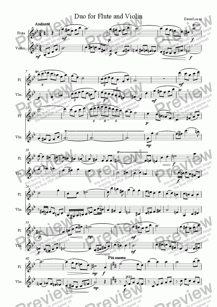 page one of Duo for Flute and ViolinASALTTEXT