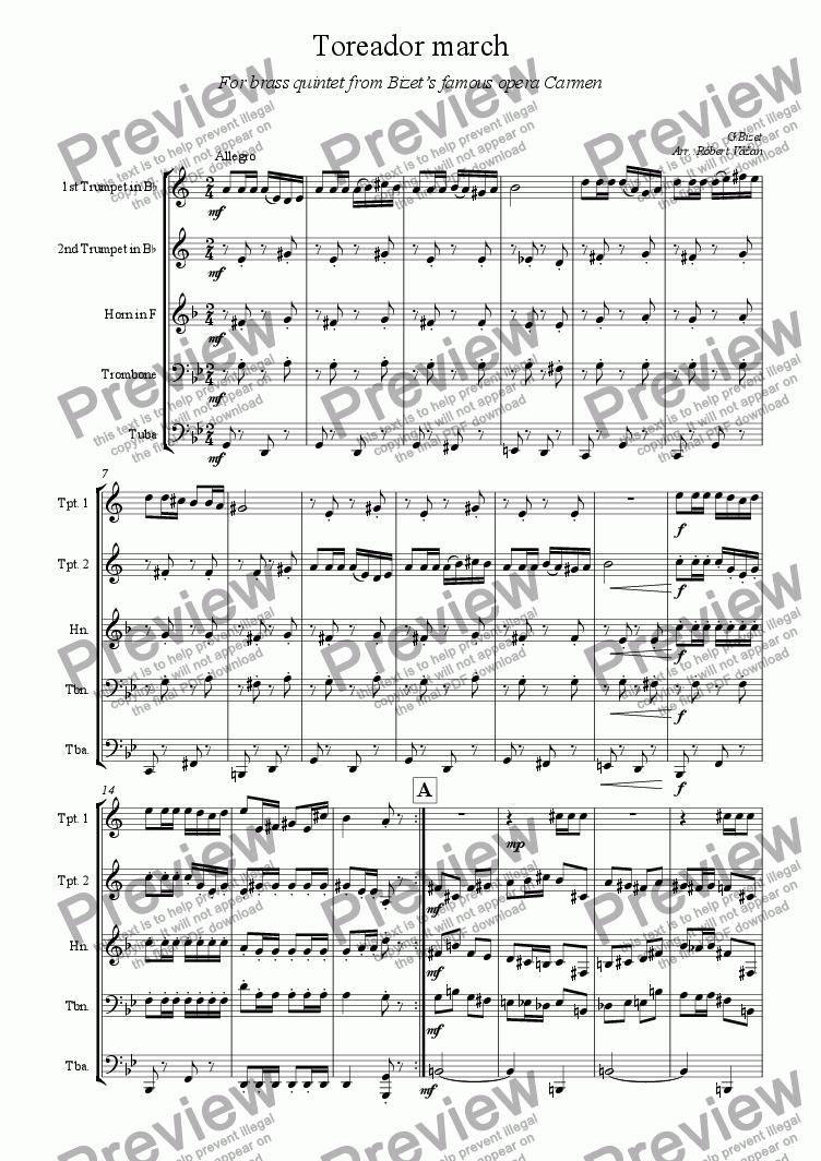 page one of Toreador March