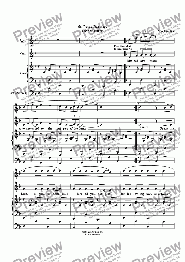page one of St. Thomas Jazz Mass - Fraction Anthem
