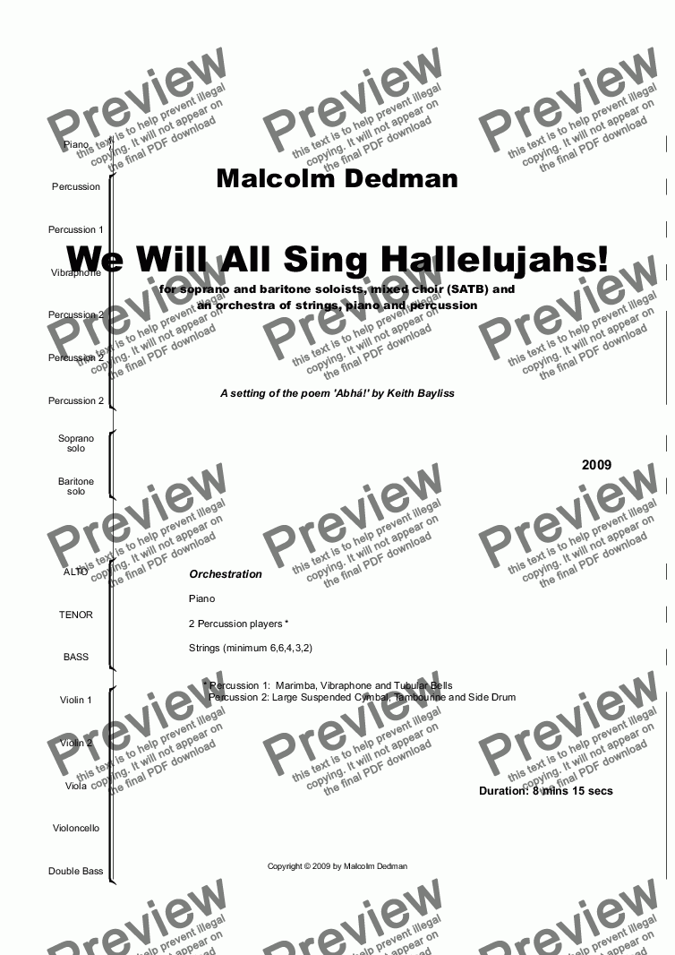 page one of We Will All Sing Hallelujahs!ASALTTEXT