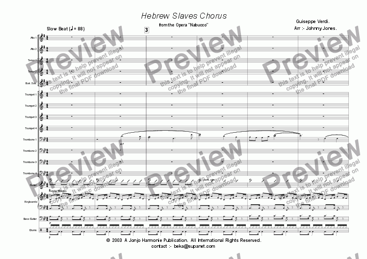 "page one of Hebrew Slaves Chorus  (from ""Nabucco""  SLOW BEAT  Big Band)"