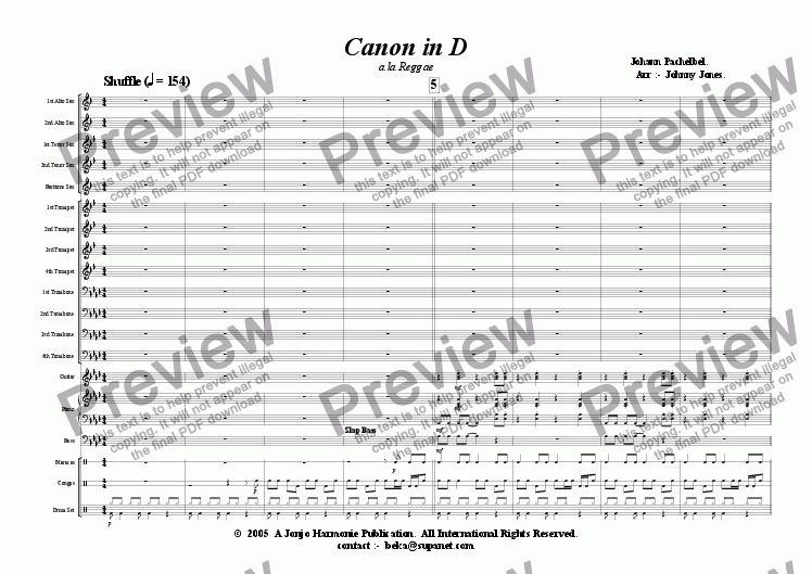 page one of Canon in D   ( a la Reggae Latin feel Big Band)
