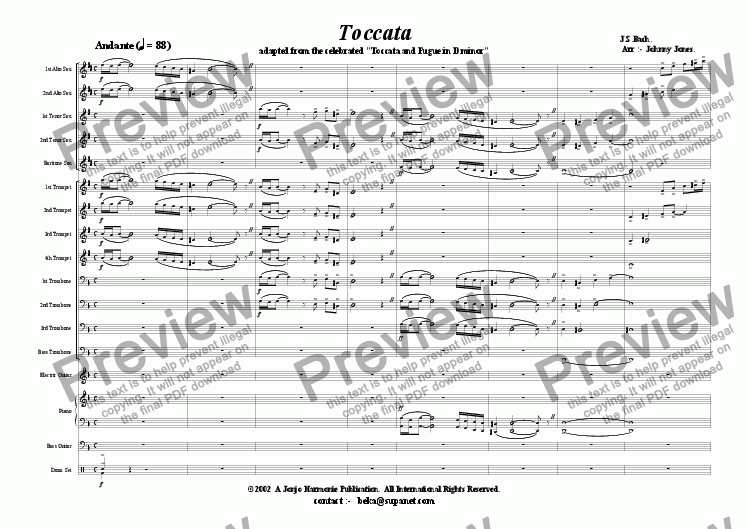 page one of Toccata   (J.S.Bach.  Disco Beat  Big Band)