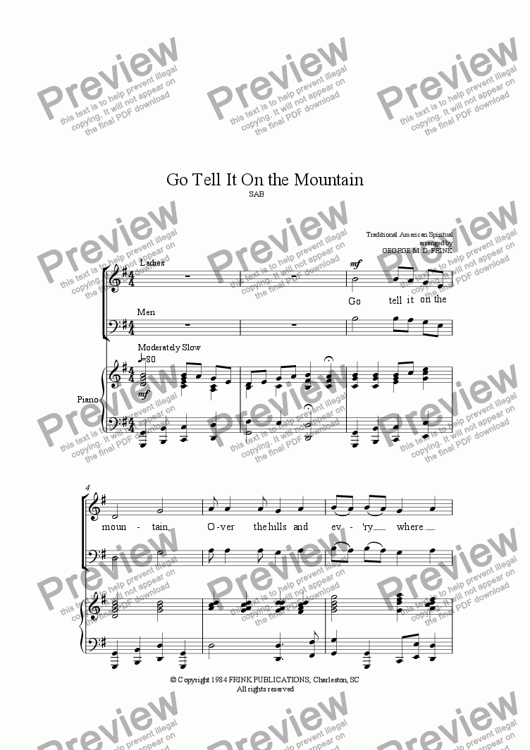 page one of Go Tell It on the Mountain (2-part anthem)