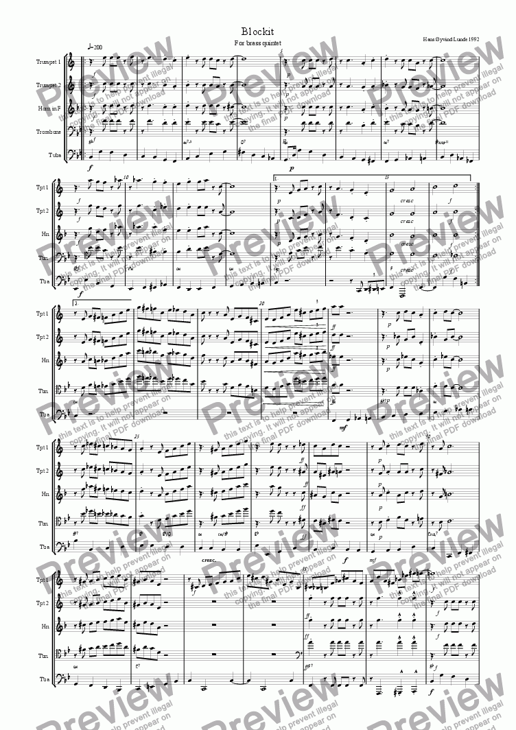 page one of Blockit for brass quintetASALTTEXT