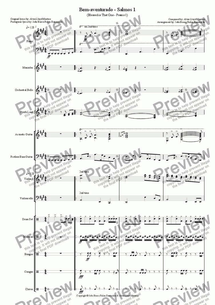 page one of 22- Bem-aventurado - Salmos 1 - in A - Coral e Orquestra (Original melody by Alvin Loyd Masters)