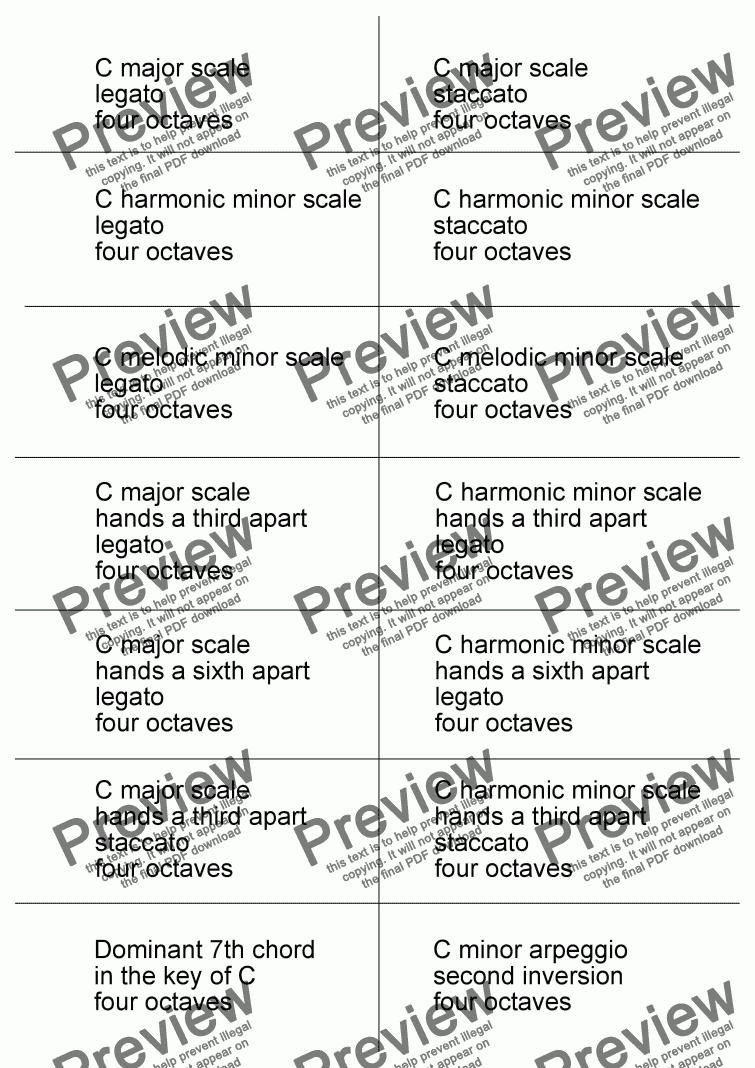 Grade 8 Piano Scale Cards - Download Sheet Music PDF file