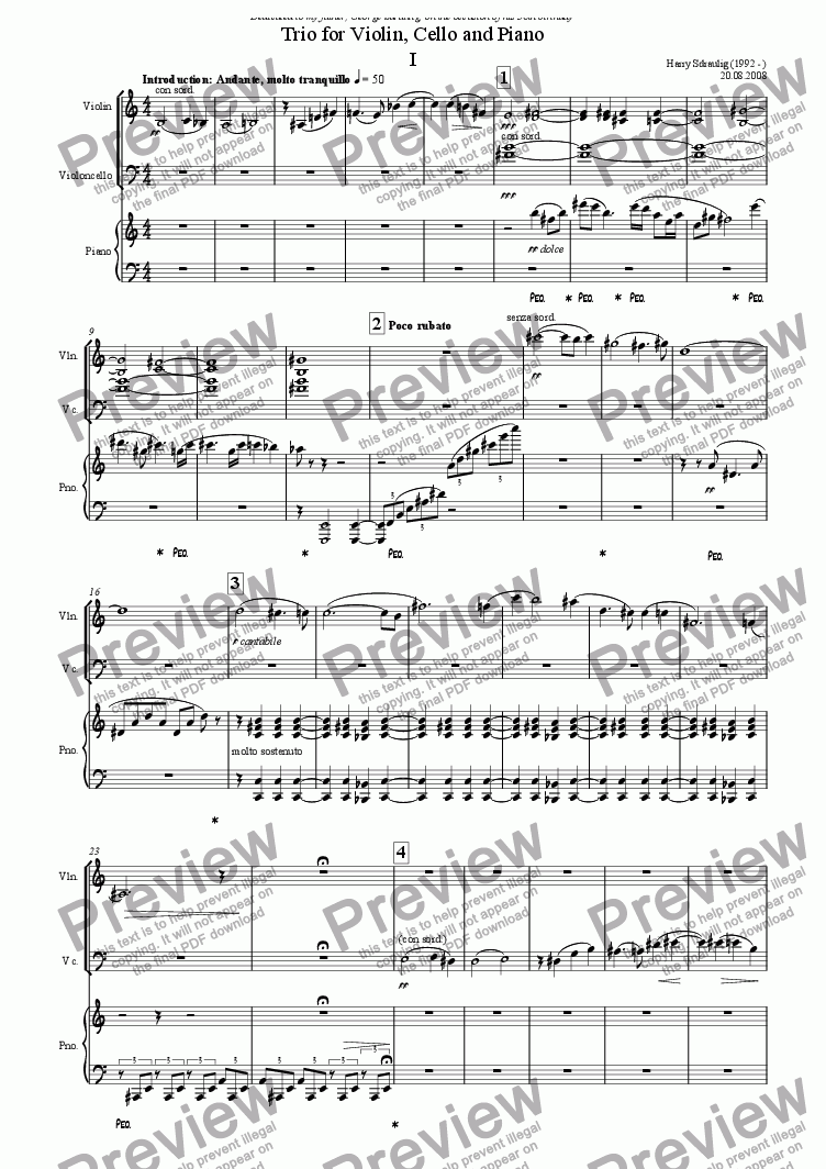 page one of Piano Trio No. 1 - 1. Introduction: Andante, molto tranquilloASALTTEXT