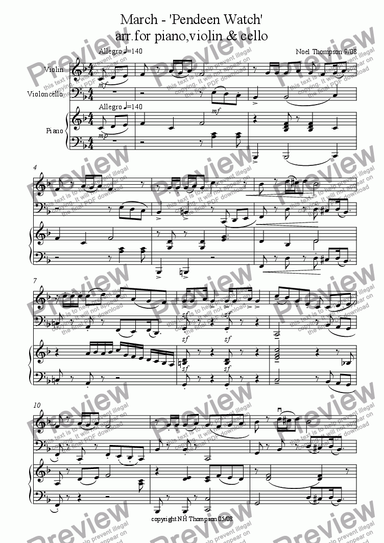 page one of Pendeen Watch - march for piano trio