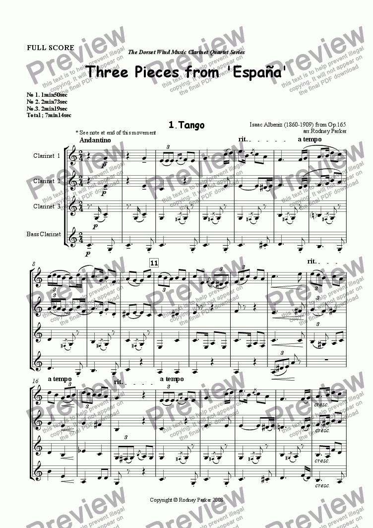 page one of Three Pieces from 'Espana' arr. for Clarinet Quartet