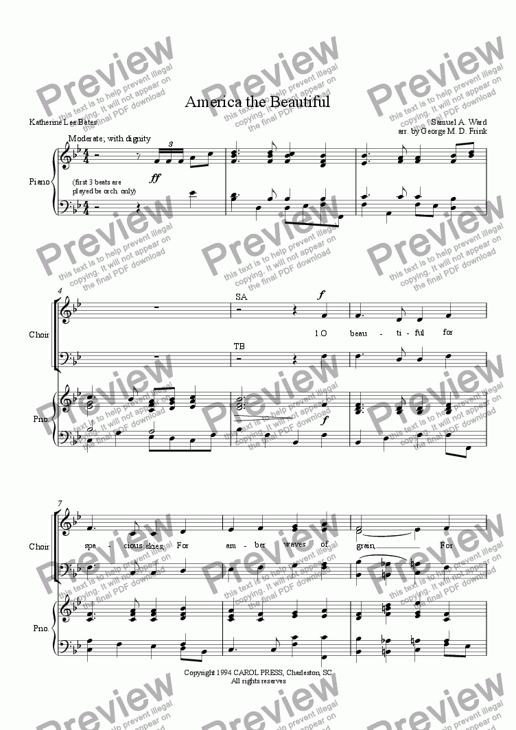 page one of America the Beautiful (satb anthem)