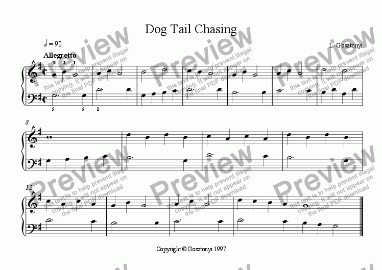 page one of Dog Tail Chasing (Easy Piano Solo)