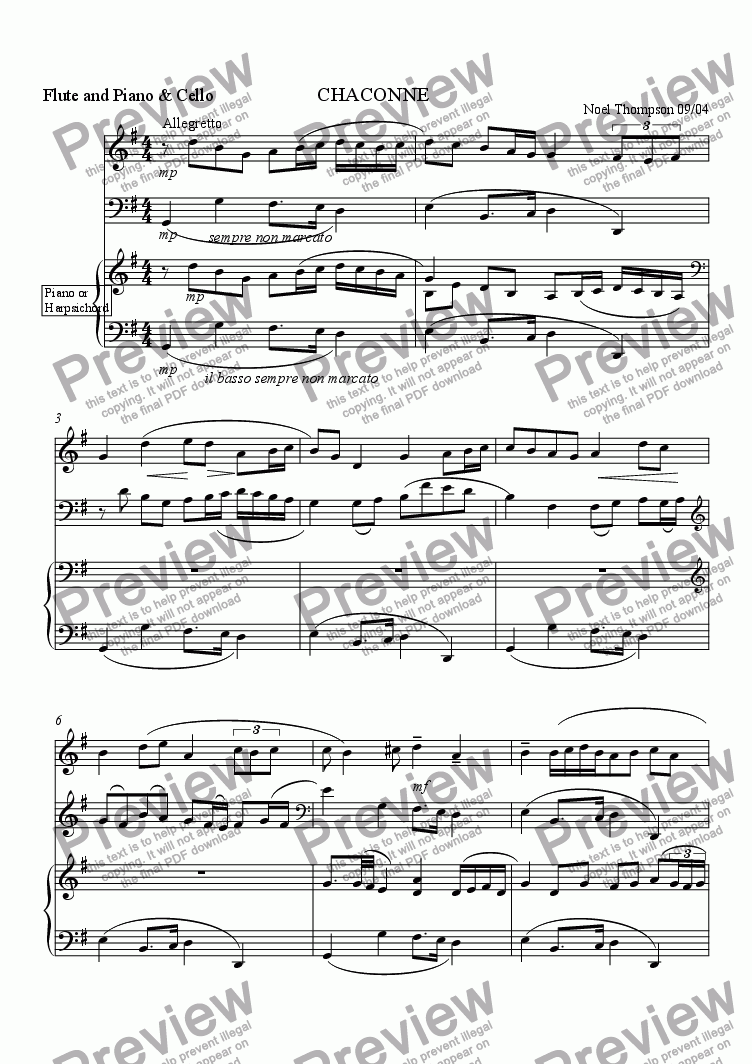 page one of Chaconne for flute (or violin) cello & keyboard: revised version