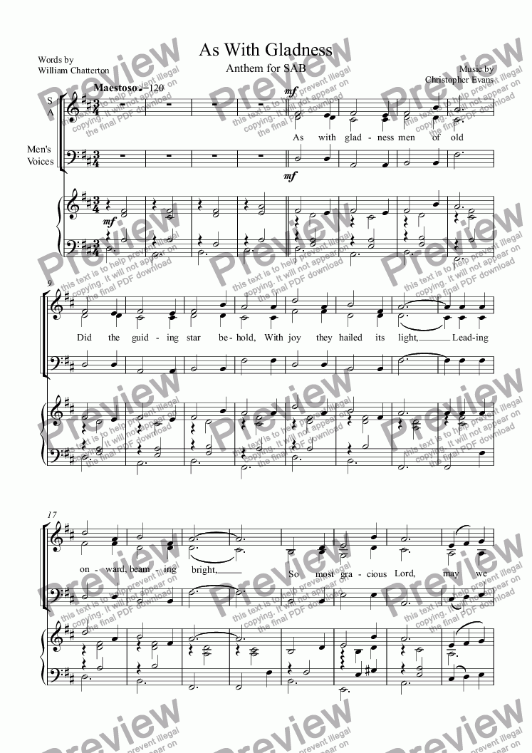 page one of As With Gladness, Anthem (SAB)ASALTTEXT