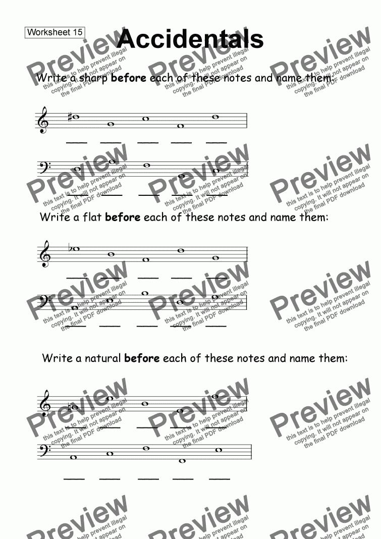 Worksheet 15 Accidentals – Choir Worksheets