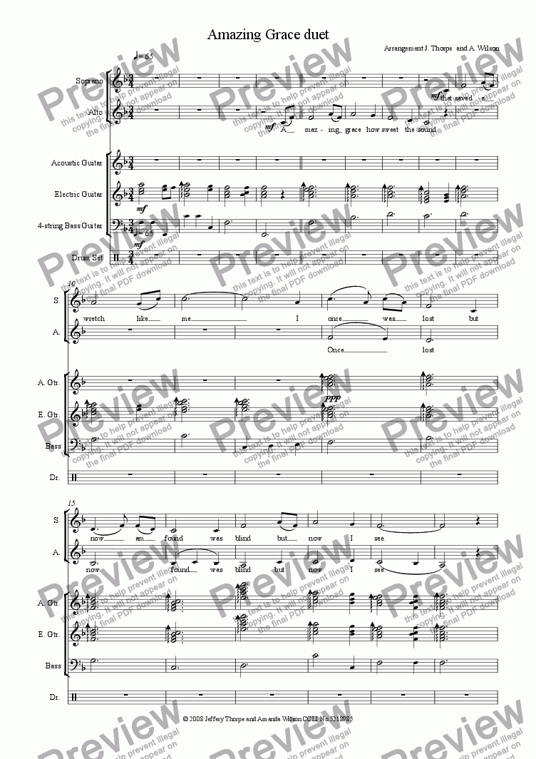 page one of Amazing Grace duet (guitar/band)