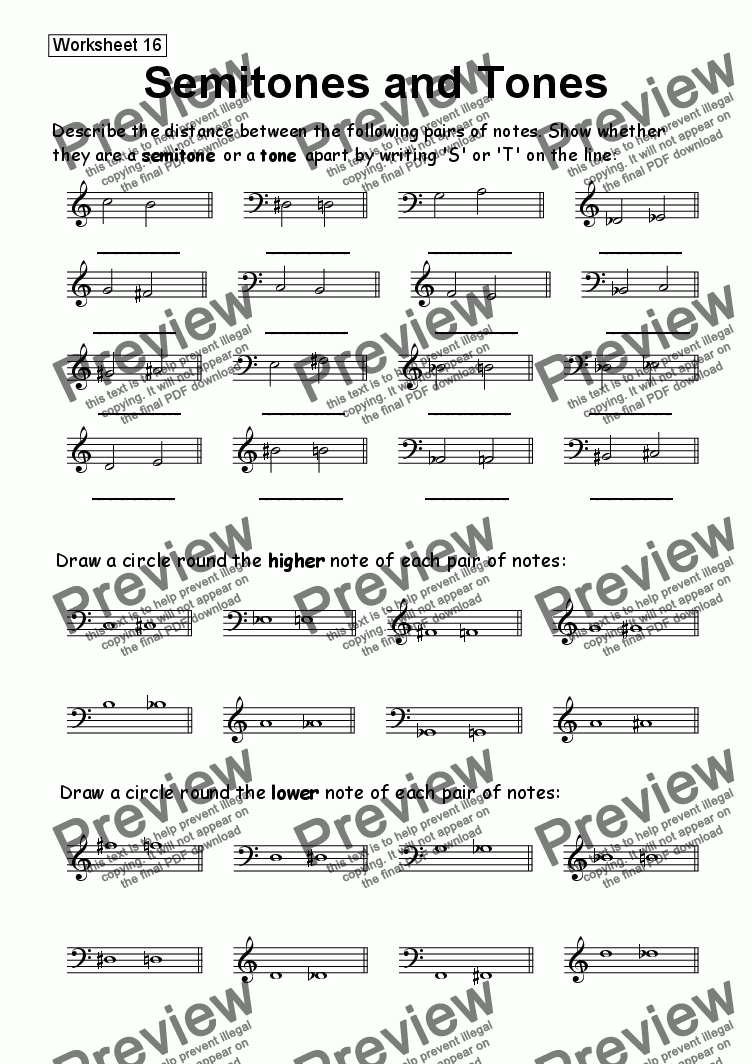 worksheet Tones And Semitones Worksheet worksheet 16 semitones and tones download sheet music pdf which method of viewing should i use