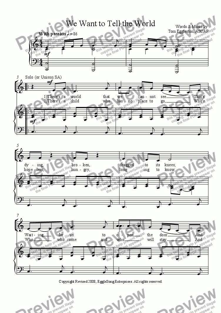 page one of We Want to Tell the World, SATB