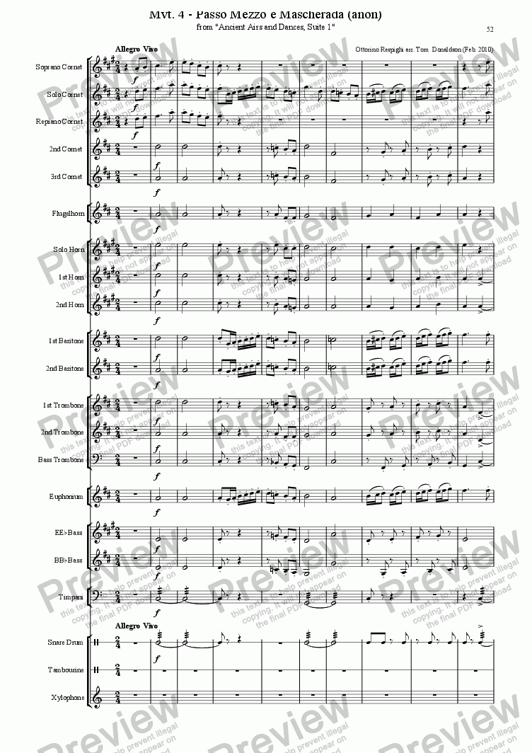 page one of BRASS BAND - Mvt. IV - Ancient Airs and DancesASALTTEXT