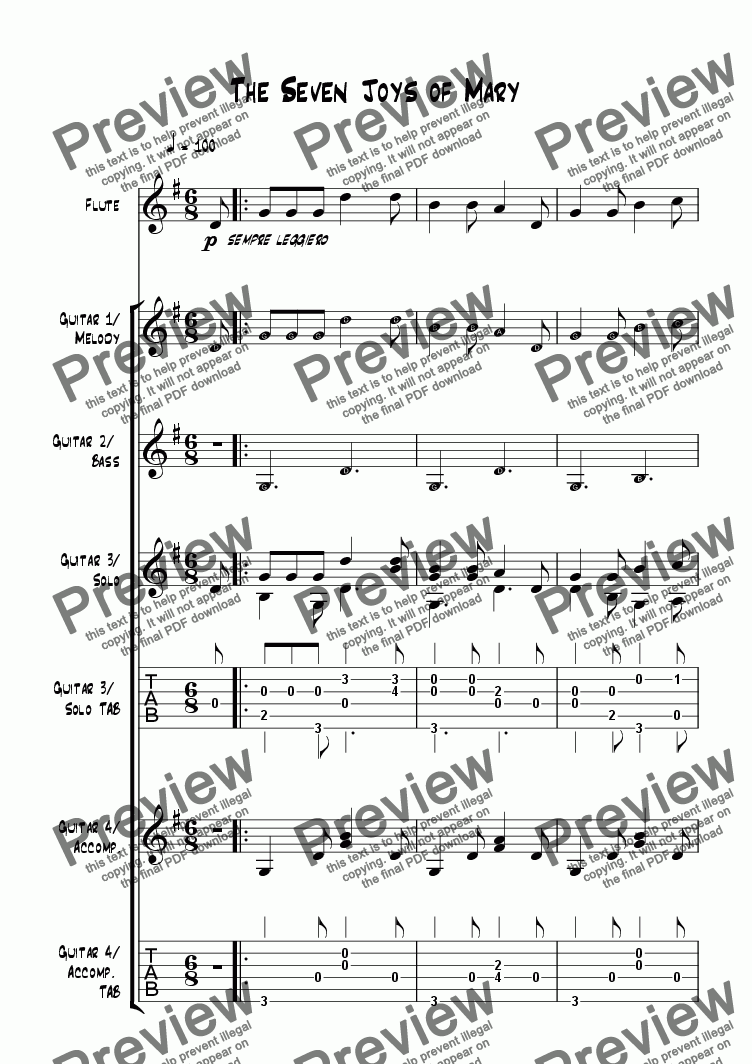 page one of The Seven Joys of Mary - Guitar Quartet (with optional flute)