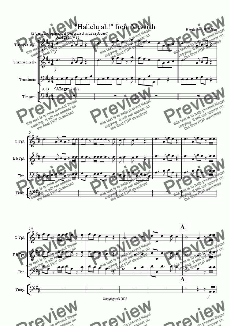 page one of Hallelujah! from Messiah (Trp & Trb duet)