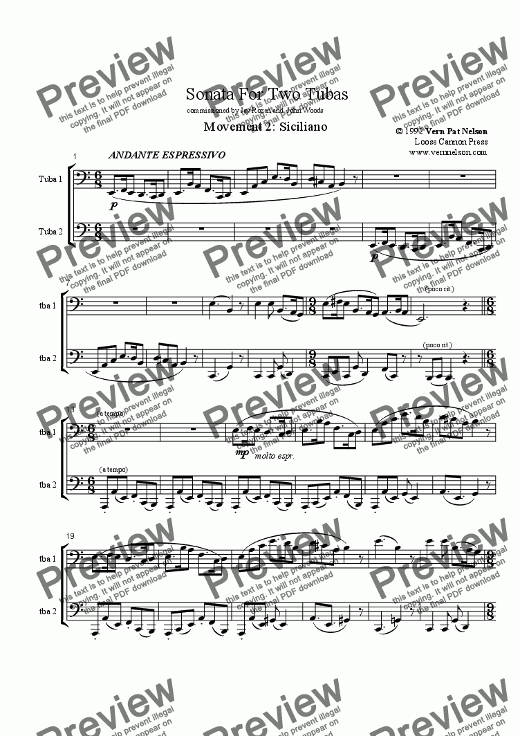 page one of Sonata For Two Tubas, mvt. 2