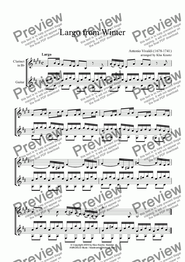 page one of Largo from Winter for clarinet in Bb and guitar