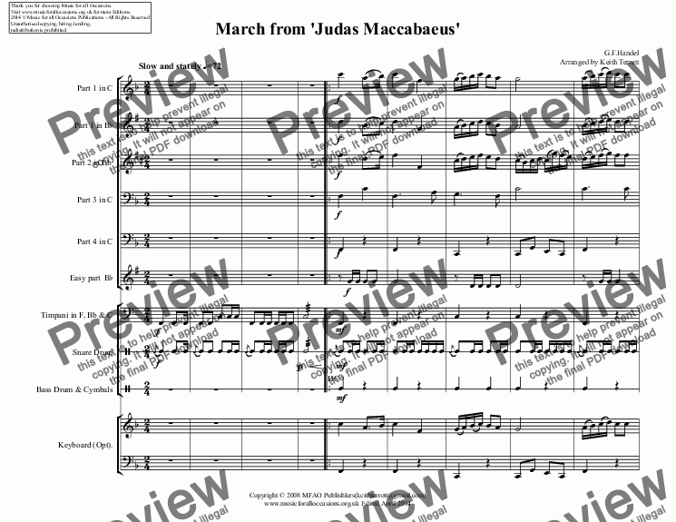 page one of March from 'Judas Maccabaeus' for Flexible Band (School Junior Band Series)