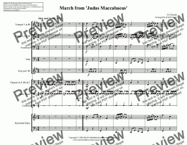 page one of March from 'Judas Maccabaeus'  for Junior Brass Quartet (School Junior Brass Series)