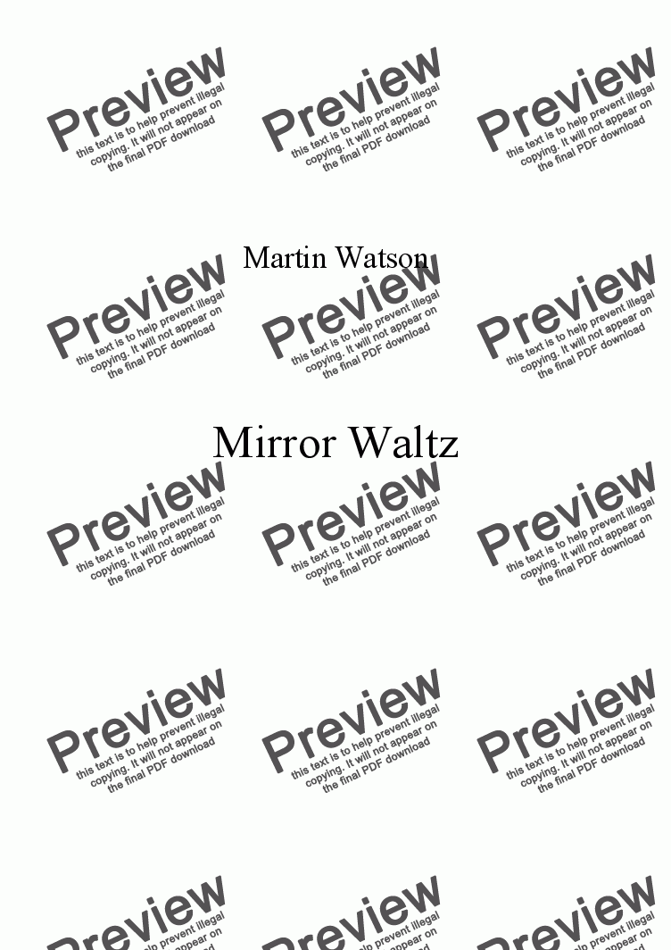 page one of Mirror Waltz for Recorder Quartet.