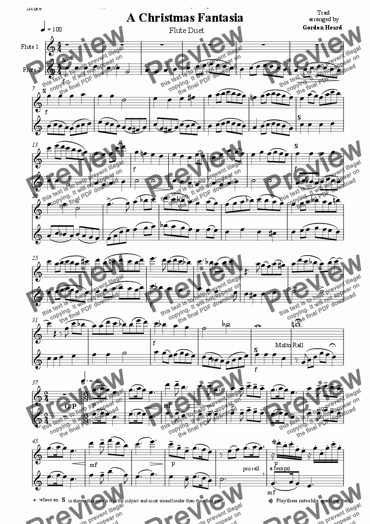 page one of Christmas Fantasia Flute Duet