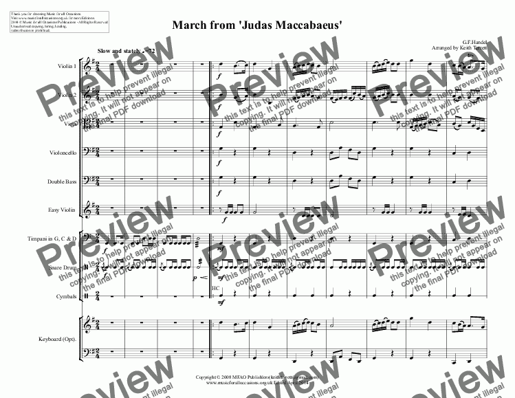 page one of March from 'Judas Maccabaeus'  for Junior String Orchestra with opt. KB & Percussion (School Junior String Series)