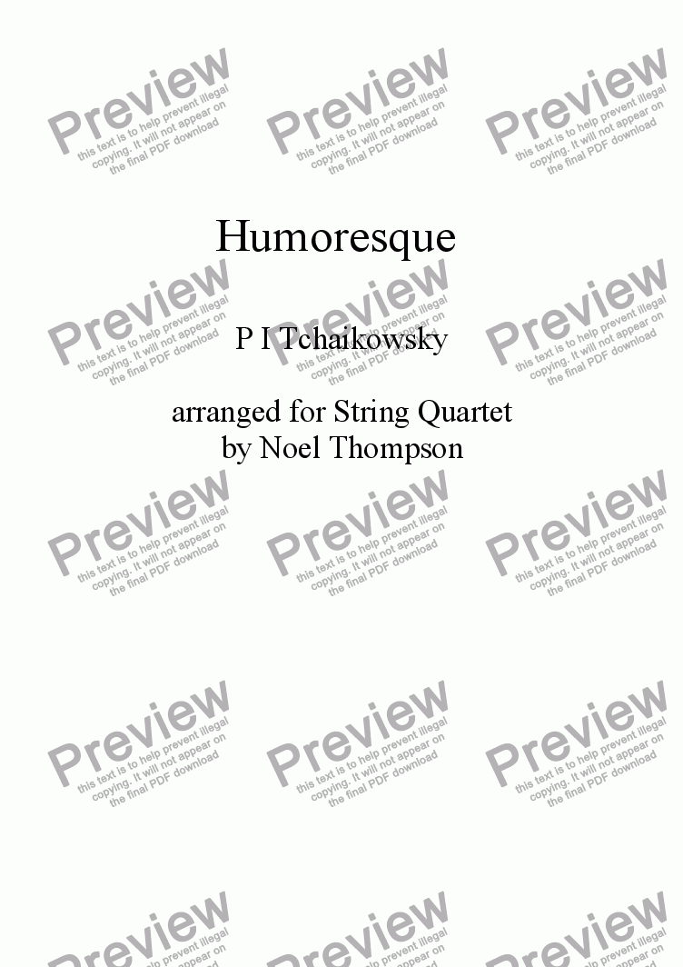 page one of Tchaikowsky's Humoresque -arr. for string quartet (re-edited version)