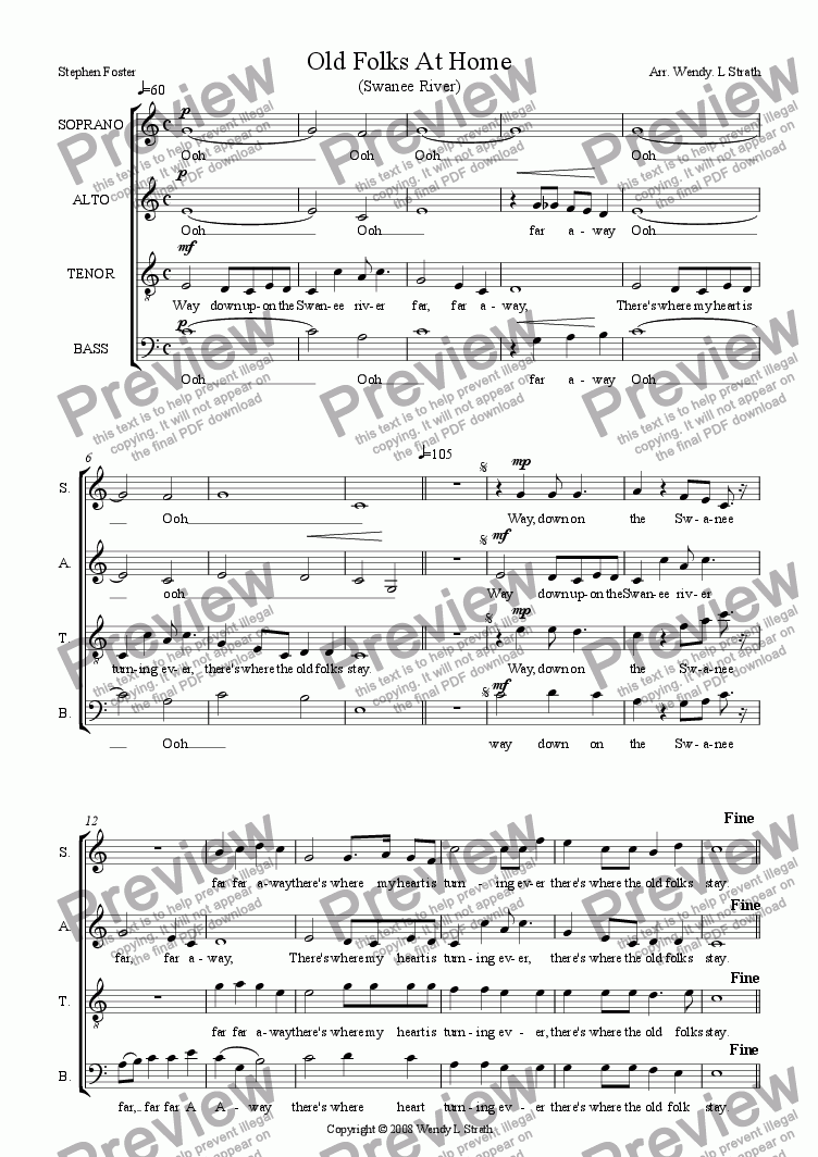 page one of Swanee River (SATB)