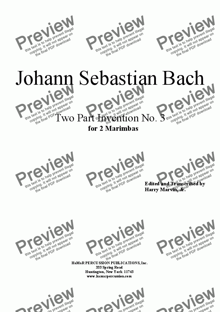 page one of J. S. Bach Two Part Invention No. 3 for 2 Marimbas