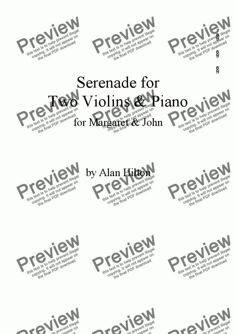 page one of Serenade for Two Violins with Piano