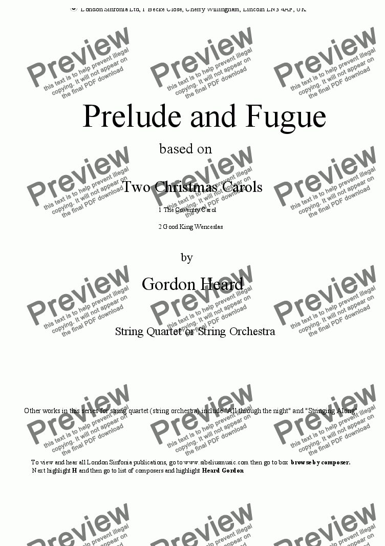 page one of Prelude and Fugue for string quartet (or string  orchestra) based on two Christmas Carols