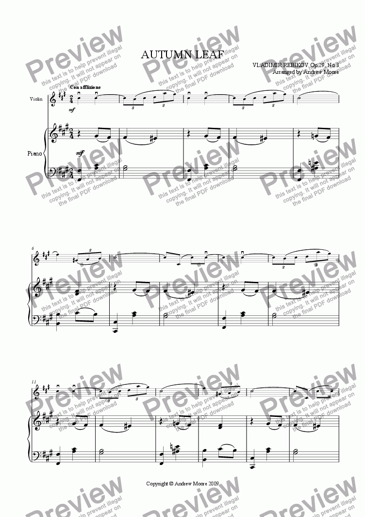page one of 'Autumn Leaf' for violin & piano