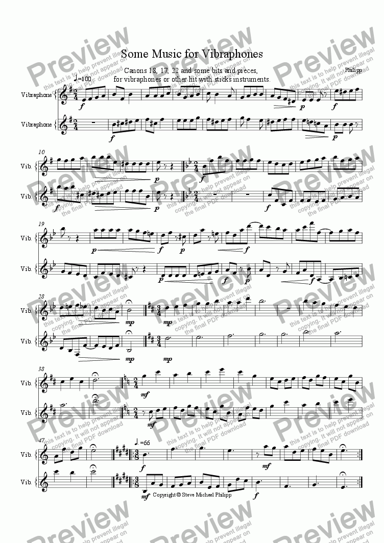 page one of Music for Vibraphones