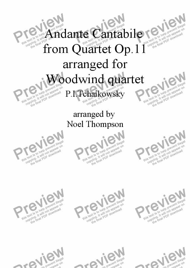page one of Andante Cantabile from Tchaikowsky's Quartet Op.11 arranged for Woodwind quartet