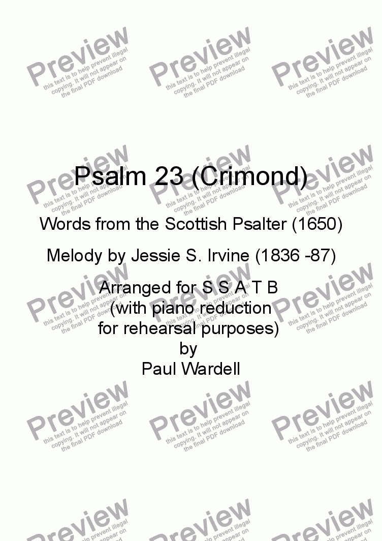 page one of Psalm 23 (Crimond)