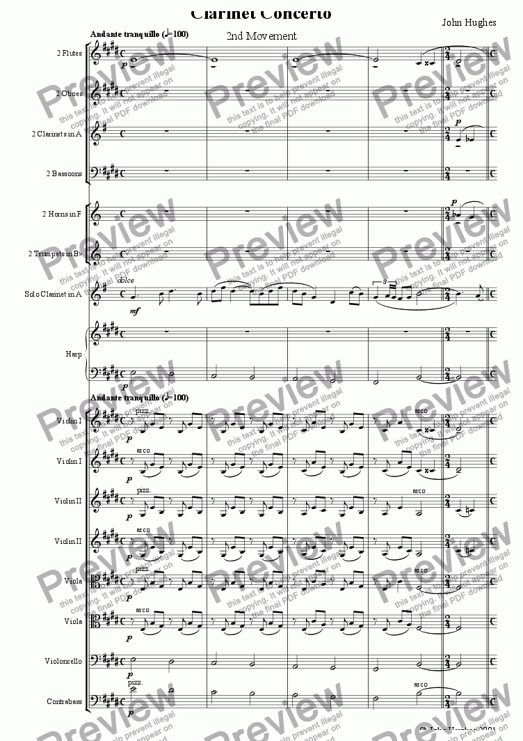 page one of Clarinet Concerto - 2nd MovementASALTTEXT