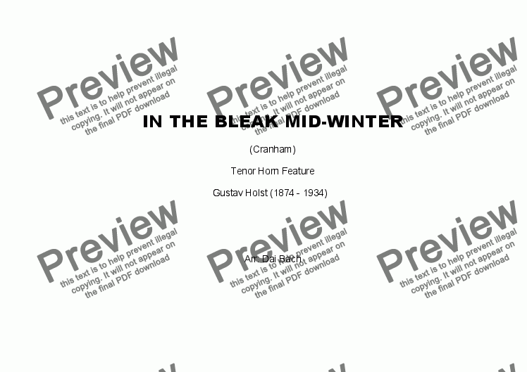 page one of In the Bleak Mid-Winter (Horn Feature)